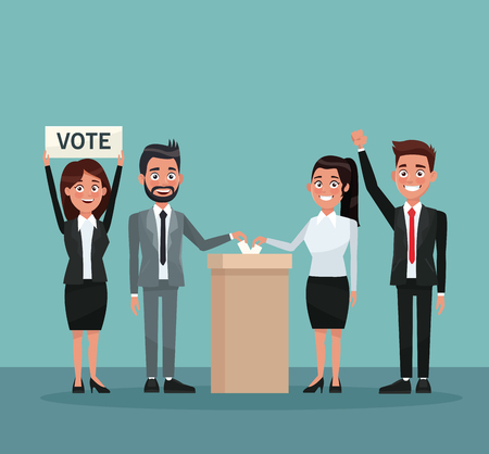 urn: background scene set people in formal suit vote in urn for candidate and banner promoving voting vector illustration