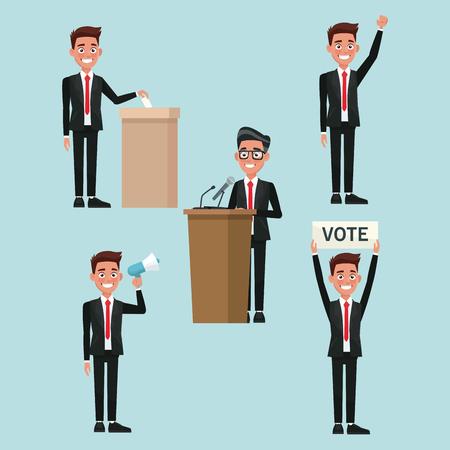 背景のシーンは投票候補ベクトル図に異なるポーズでフォーマルなスーツの男性人を設定  イラスト・ベクター素材