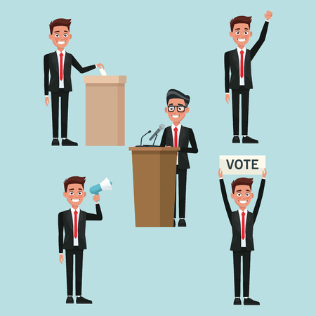 background scene set people male in formal suit in different poses for vote candidacy vector illustration Illustration
