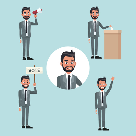 background scene set people bearded man in formal suit in different poses for vote candidacy vector illustration Illustration