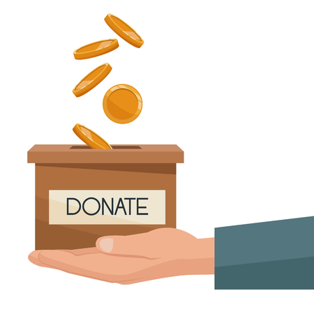 philanthropist: coins depositing in a carton box with banner of text donate on a hand vector illustration Illustration