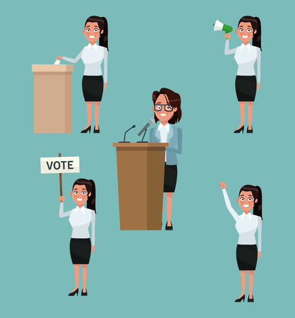 background scene set people female in formal suit in different poses for vote candidacy vector illustration