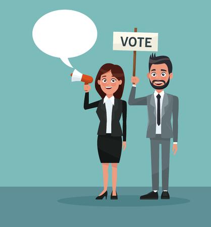 mujer de escena de fondo mujer en traje formal habla por caja de diálogo y hombre de barba con banner promoviendo ilustración vectorial de voto Logos