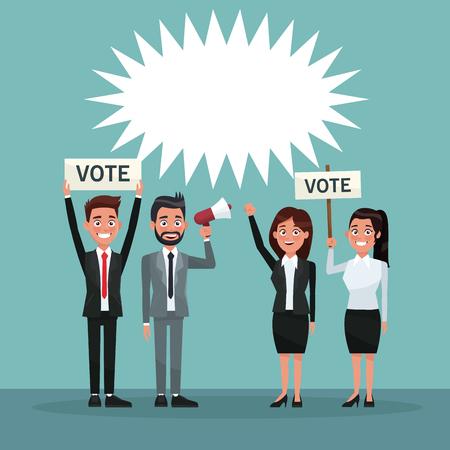 background scene set people in formal suit speaks for dialog box and banner promoving vote vector illustration