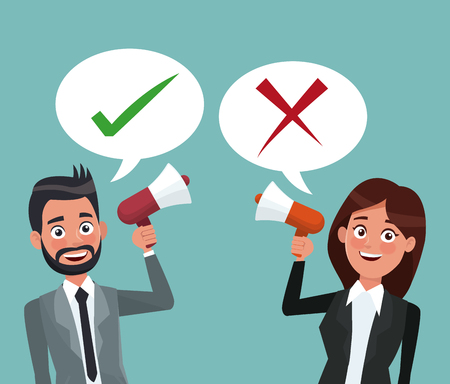 background scene set couple half body male and female in formal suit speaks for dialog box with check mark posotive and negative vector illustration