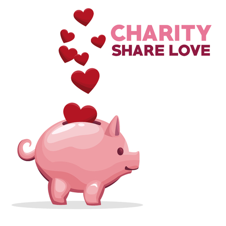 philanthropist: coins in shape hearts floating depositing in money piggy bank charity share love vector illustration Illustration