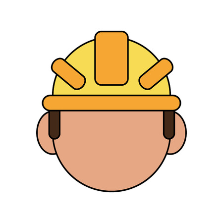dangerous man: color silhouette cartoon front view faceless worker with protective helmet vector illustration Illustration