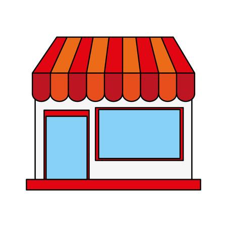 shopfront: color image cartoon facade shop store vector illustration