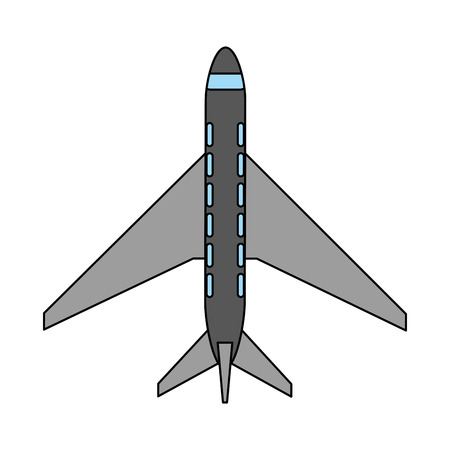 color image cartoon top view travel airplane vector illustration
