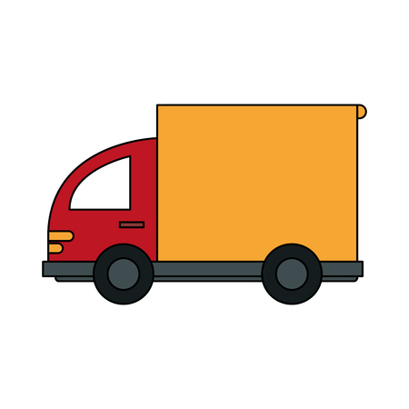 color image cartoon small transport truck with wagon vector illustration
