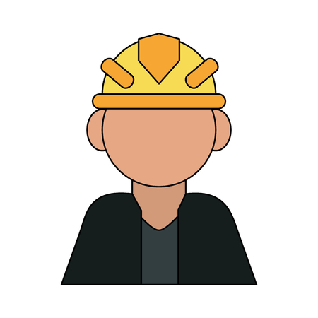 dangerous man: color silhouette cartoon half body faceless worker with protective helmet vector illustration