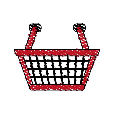 retailers: color crayon stripe cartoon shopping basket with double handles vector illustration