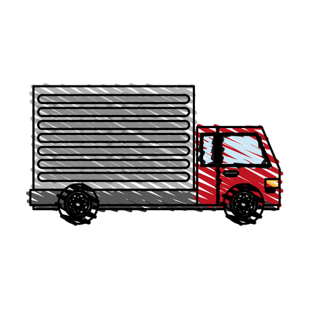 color crayon stripe cartoon transport truck with wagon and wheels vector illustration