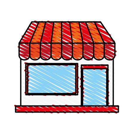 shopfront: color crayon stripe cartoon facade shop store vector illustration