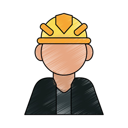 dangerous construction: color pencil cartoon half body faceless worker with protective helmet vector illustration