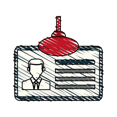 color crayon stripe cartoon identification card icon vector illustration