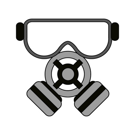 color image cartoon gas mask protection element vector illustration