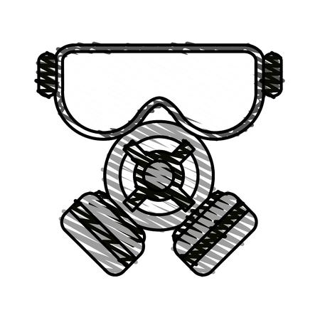 color crayon stripe cartoon gas mask protection element vector illustration
