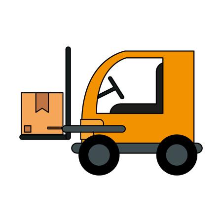 color image cartoon forklift truck with forks transporting package vector illustration Illustration
