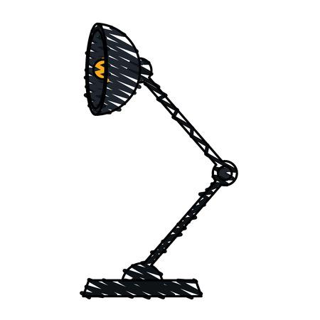 low energy: color crayon stripe cartoon modern style black desk lamp with light bulb vector illustration