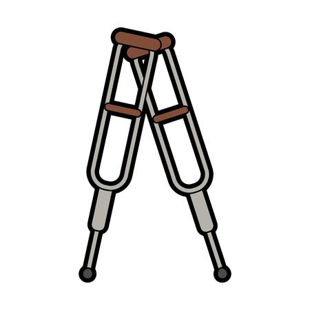 crutches healthcare related icon image vector illustration design