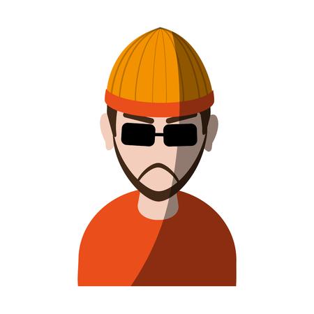 suspicious looking man with sunglasses criminal icon image vector illustration design Illustration