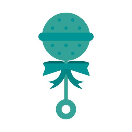 juguete rattle bebé o ducha relacionados icono de la imagen de diseño de ilustración vectorial