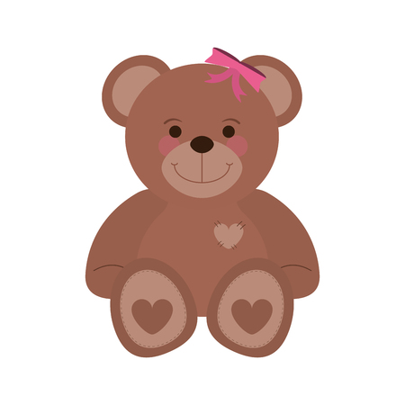 girly teddy bear baby or shower related  icon image vector illustration design Illustration
