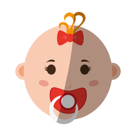 female baby with pacifier icon image vector illustration design Illustration