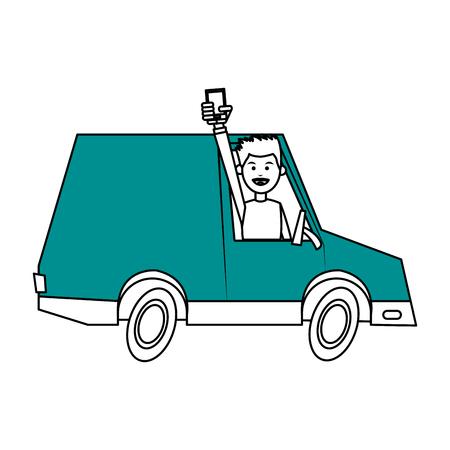 Vlakke lijnmens in een vrachtwagen over witte vectorillustratie als achtergrond