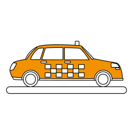Flat line taxi cab over white background vector illustration Иллюстрация