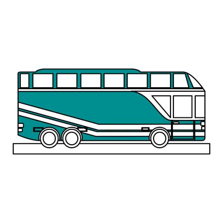 Vlakke lijn dubbel uitgedoste bus over witte vectorillustratie als achtergrond