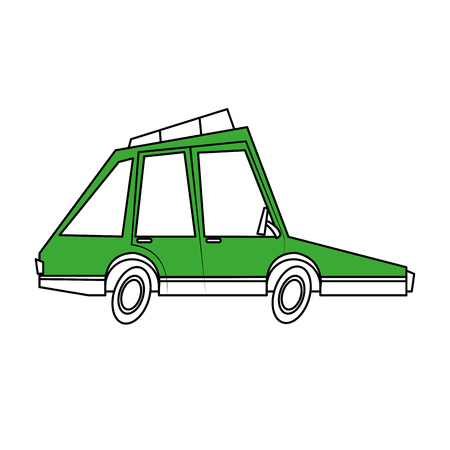 Flat line green car over white background vector illustration
