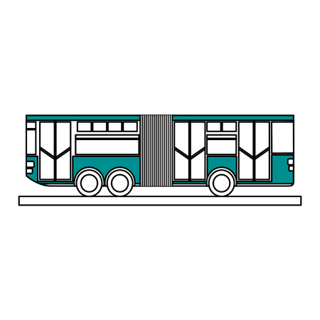 Flat line articulated bus over white background vector illustration