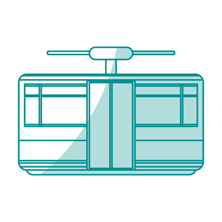 Platte lijn monocromatische tram over witte achtergrond vector illustratie