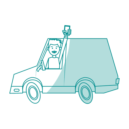 Vlakke lijn monocromatic mens in een vrachtwagen over witte vectorillustratie als achtergrond Stockfoto - 79420648