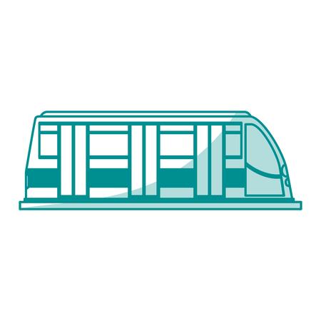 Flat line monocromatic train wagon over white background vector illustration