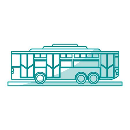 Flat line monocromatic bus over white background vector illustration