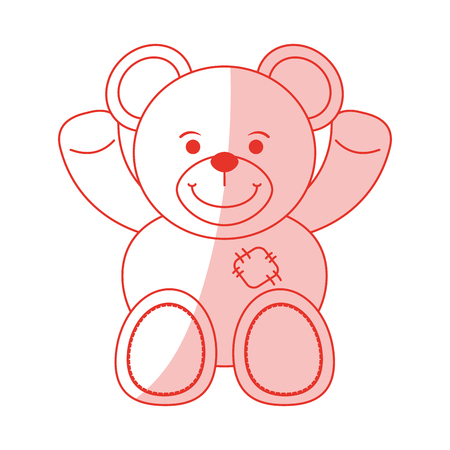 Flat line monocromatic teddy bear over white background vector illustration