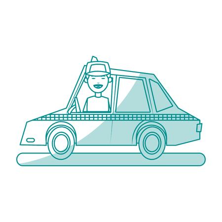Vlakke lijn monochromatische taxichauffeur en bestuurder op witte achtergrond vectorillustratie