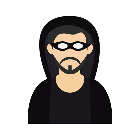 criminal wearing hoodie and mask icon image vector illustration design
