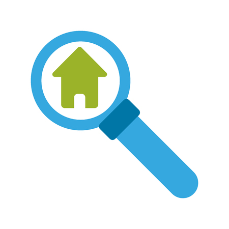 magnifying glass and house real estate related icon image vector illustration design