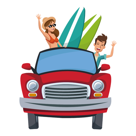 cartoon character travelers with vintage car with luggage on top vector illustration Illustration