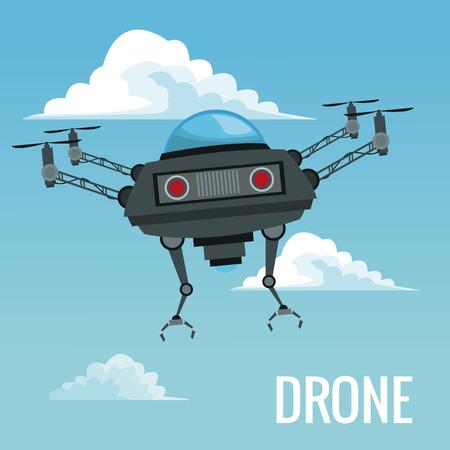 Sky landscape background robot drone with metal arms vector illustration Illustration