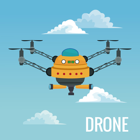 sky landscape background big robot drone with four airscrew and pair of telescope vector illustration Illustration