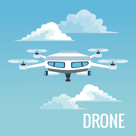 sky landscape background white modern robot drone with four airscrew and pair of telescope vector illustration Illustration