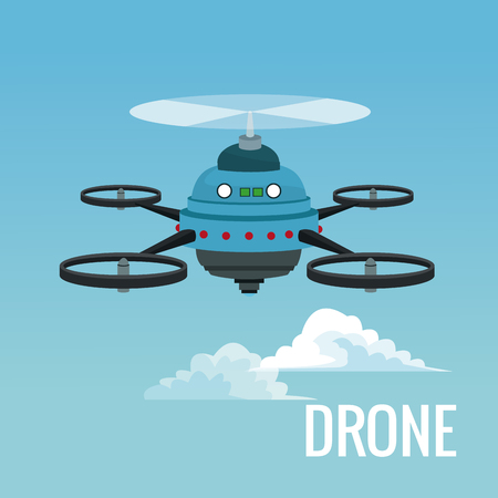sky landscape background robot drone with five airscrew vector illustration Illustration