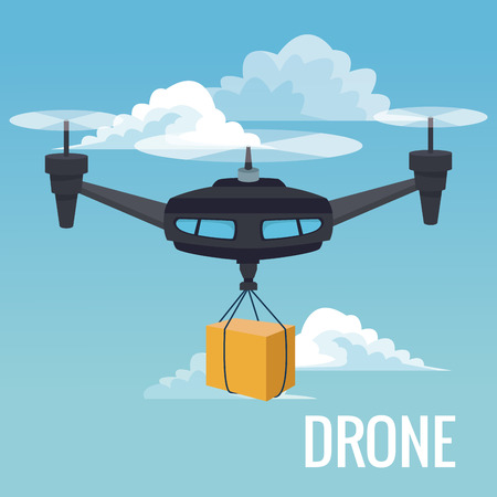 Sky landscape background robot drone carrying box with three airscrew vector illustration Illustration