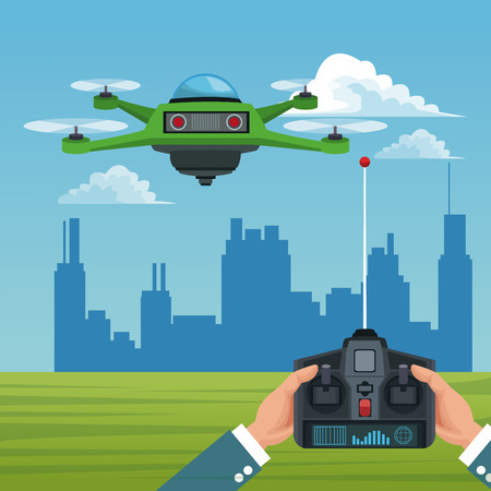 Sky landscape with buildings scene and people handle remote control with green robot drone with four airscrew vector illustration