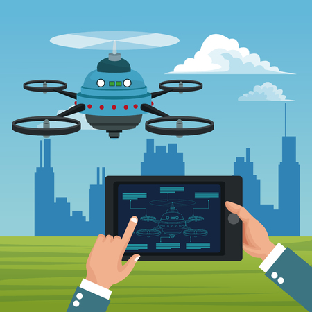 Sky landscape with buildings scene and people handle remote control in tablet with blue robot drone with five airscrew vector illustration Illustration